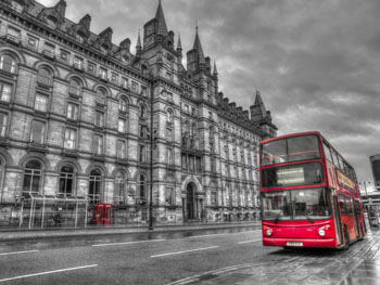 Liverpool - Red Bus on Black and White