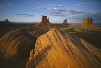 Monument Valley, Utah - panoramic view towards the Mitten in evening light
