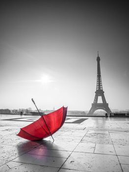 Red Umbrella with Eiffel Tower - Black and White
