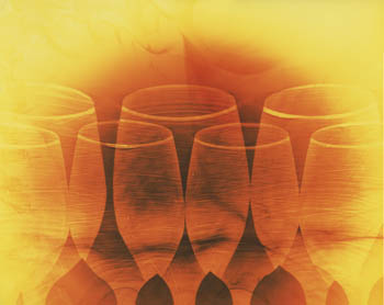Wine Glasses on Brown and Yellow