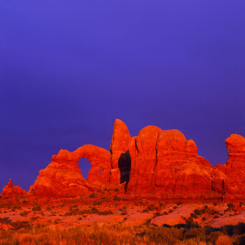 Storm light sunset,Arches National Park, Utah, USA