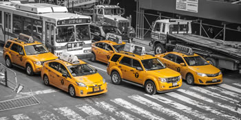 Yellow Taxis at Crosswalk