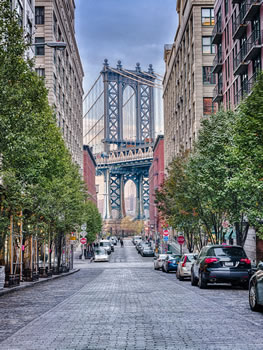 Manhattan Bridge from Tree-lined Cobbled Street
