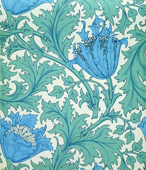 William Morris Blue Anemone Wallpaper: V&A